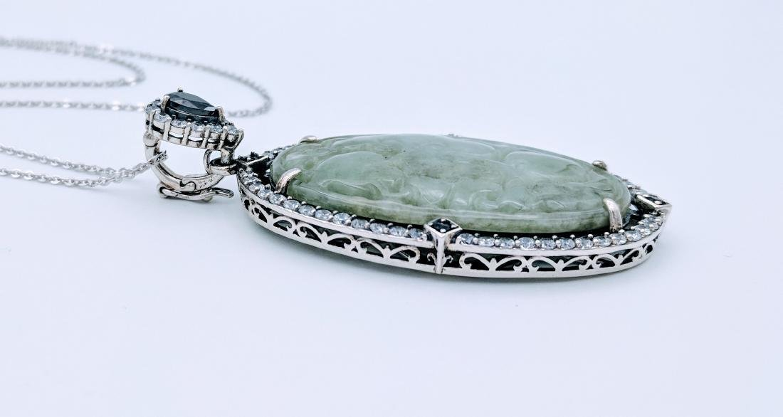 Sterling Silver Engraved Jade Black Onyx Necklace - 2
