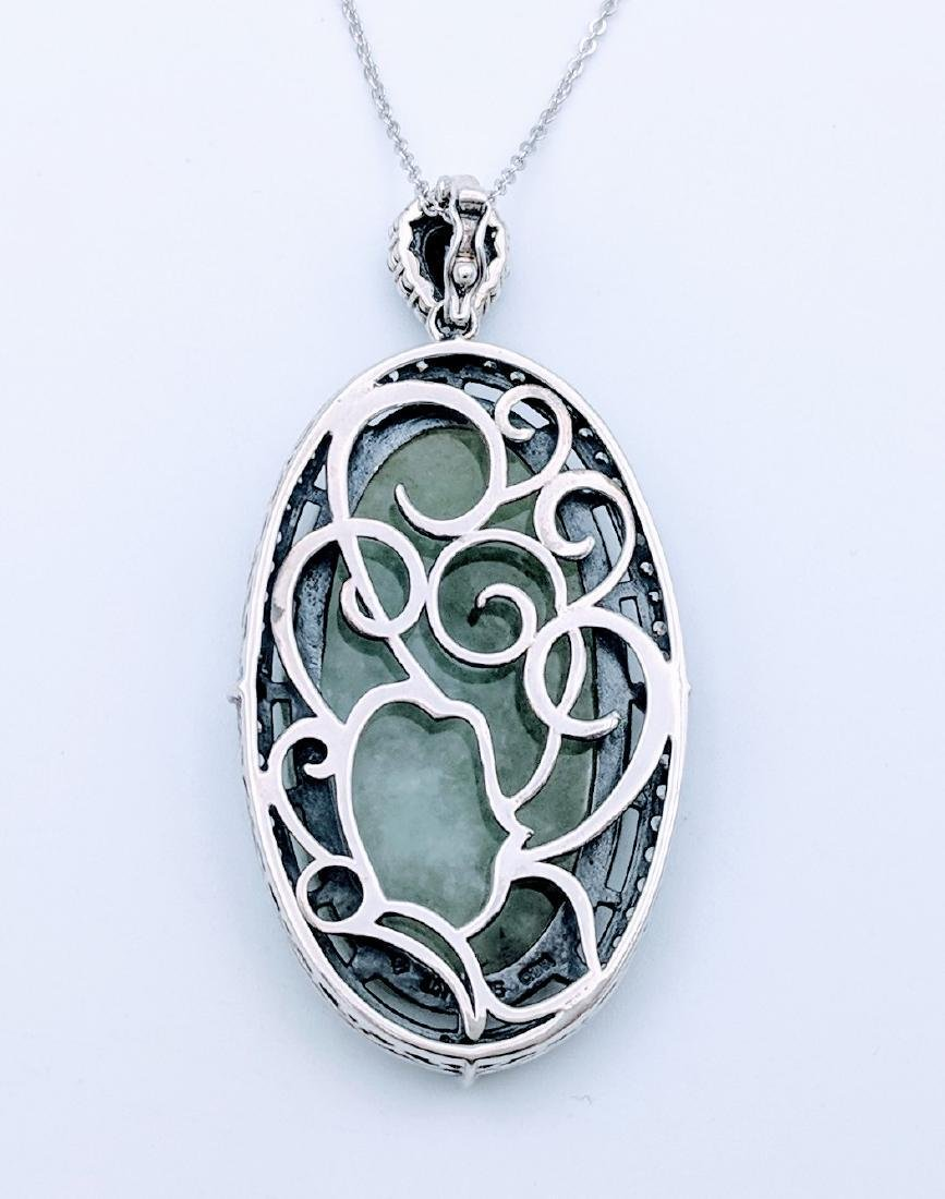 Sterling Silver Engraved Jade Black Onyx Necklace - 3