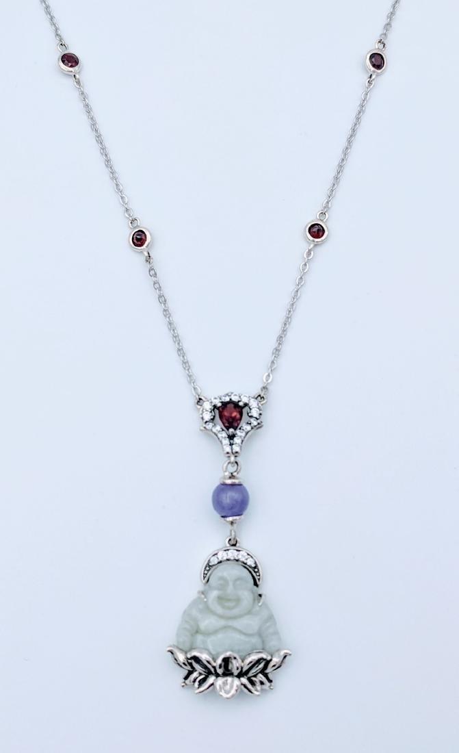 Sterling Silver Jade Red Garnet Violet Buddha Necklace
