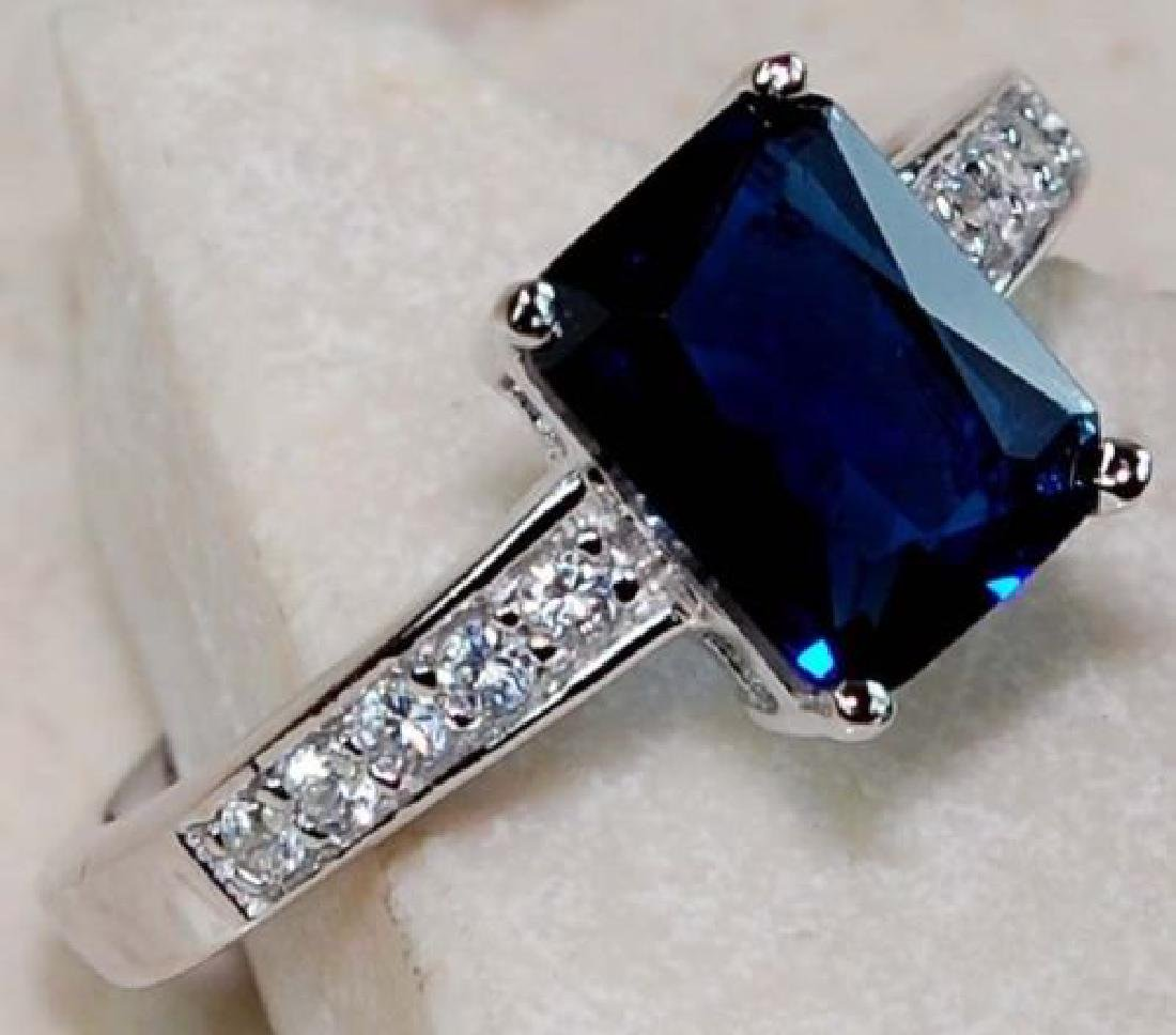 2ct Blue Sapphire & Topaz Sterling Silver Ring - 2