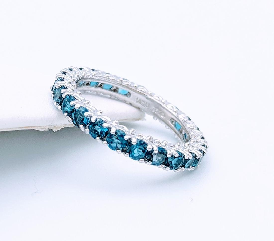 Sterling Silver Eternity Ring with Blue Topaz, 2.75ct