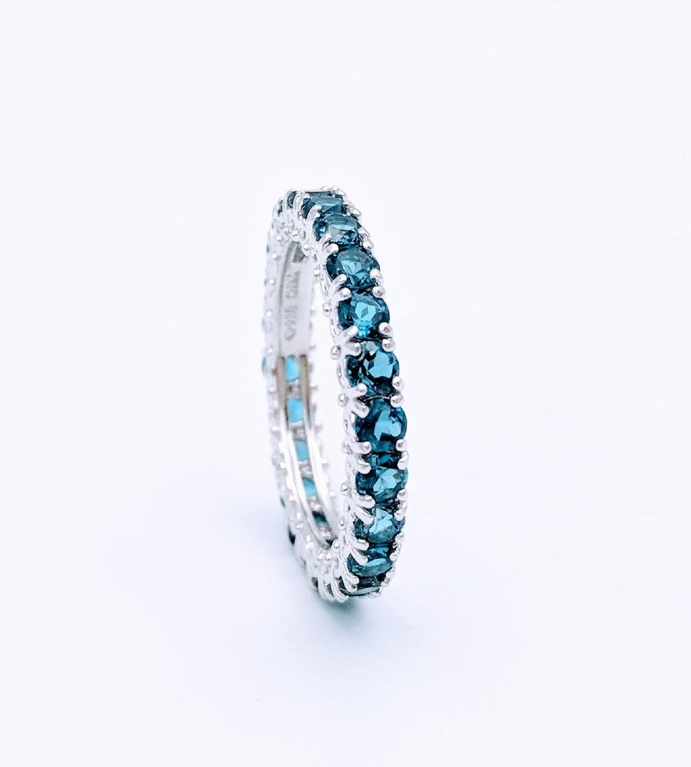 Sterling Silver Eternity Ring with Blue Topaz, 2.75ct - 2