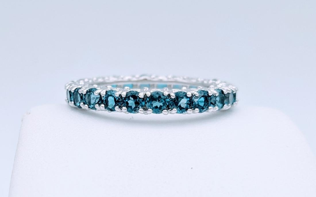 Sterling Silver Eternity Ring with Blue Topaz, 2.75ct - 4