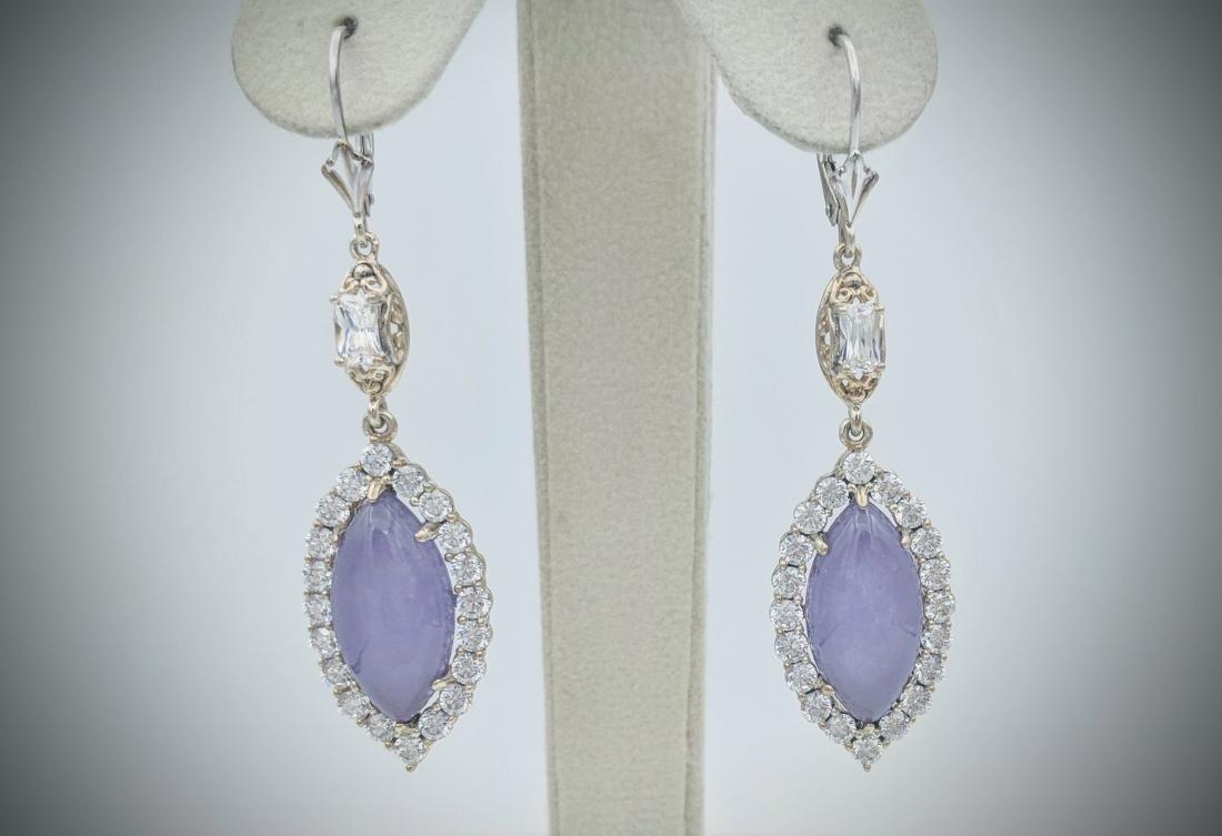 Sterling Silver Vintage Designed Violet Jade Earrings
