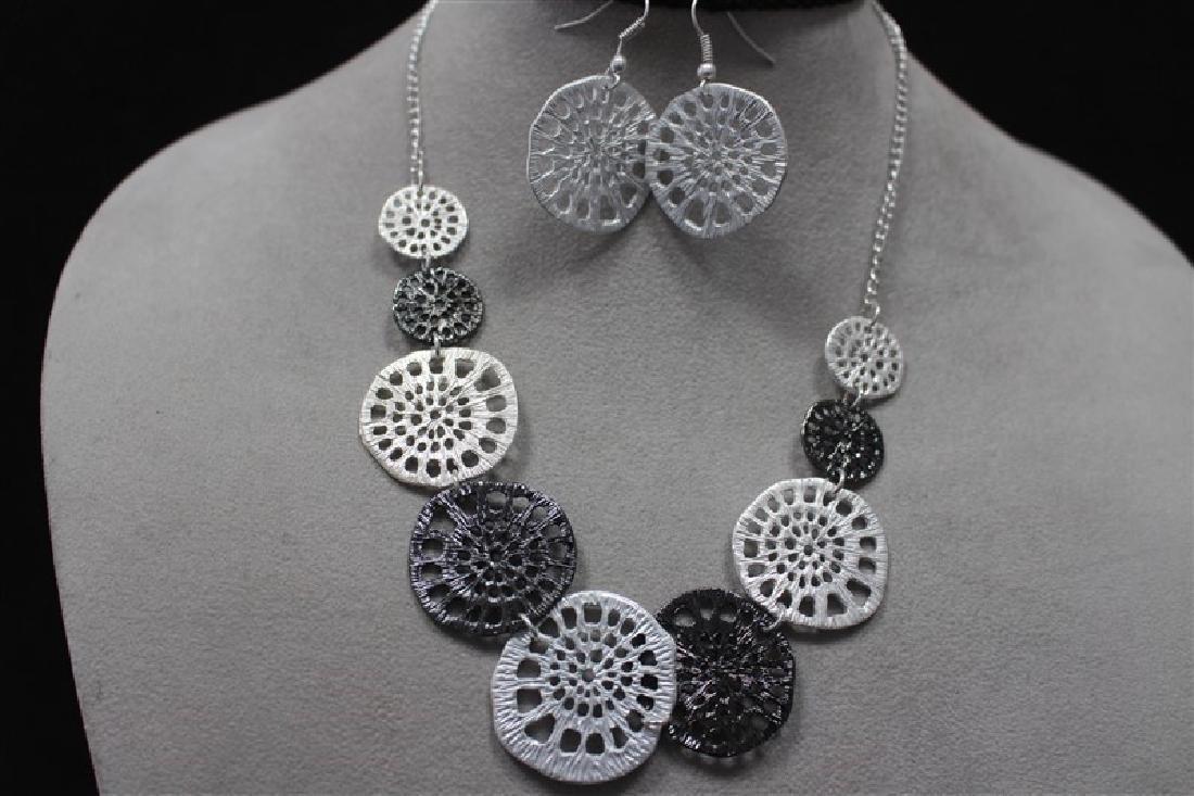 N+E Zinc Alloy Necklace+Earring Silver Set Jewelry