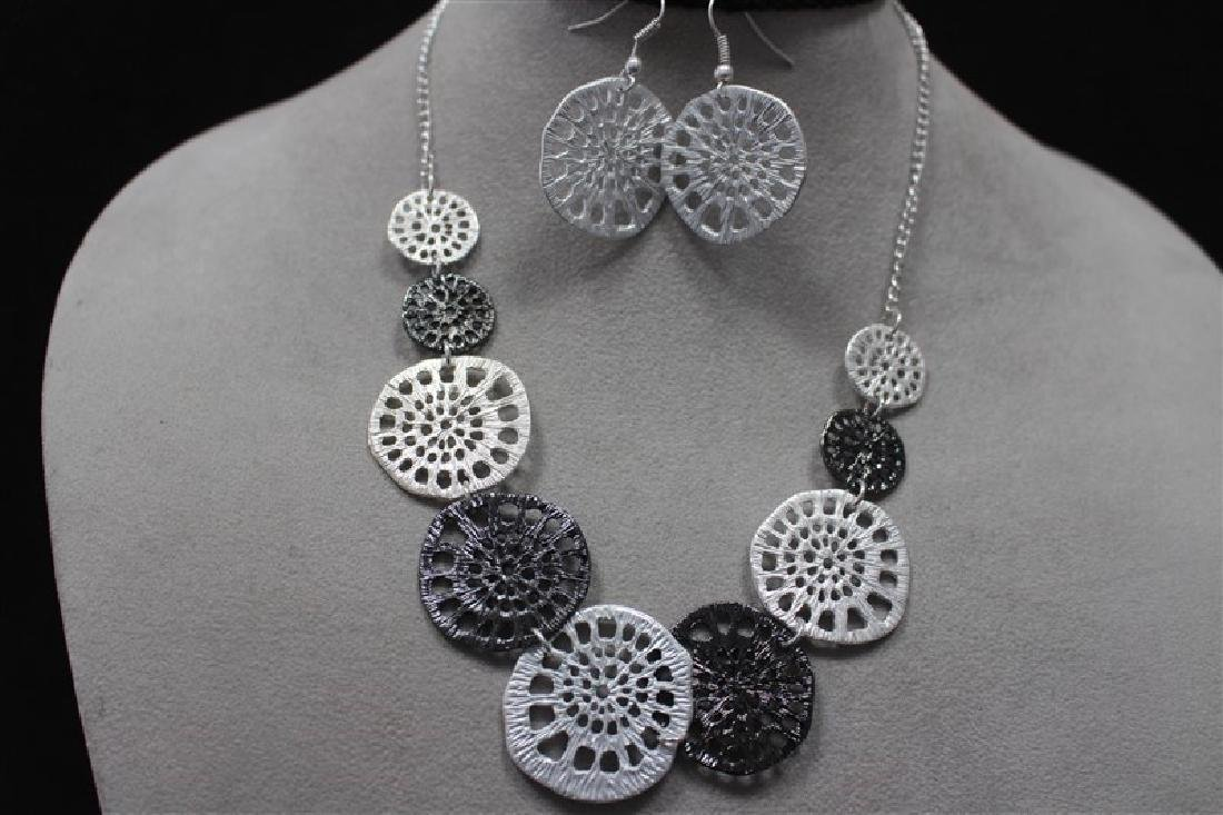 N+E Zinc Alloy Necklace+Earring Silver Set Jewelry