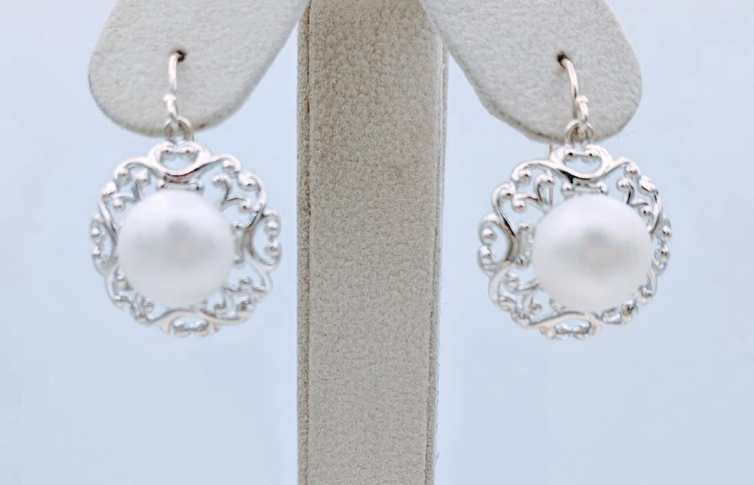 Sterling Silver Vintage Style Pearl Earrings
