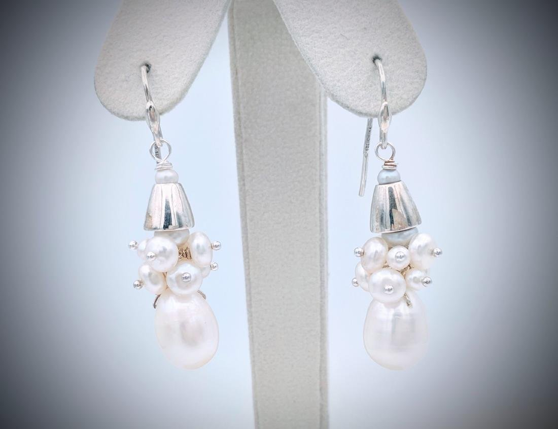 Sterling Silver Clustered Pearl Earrings