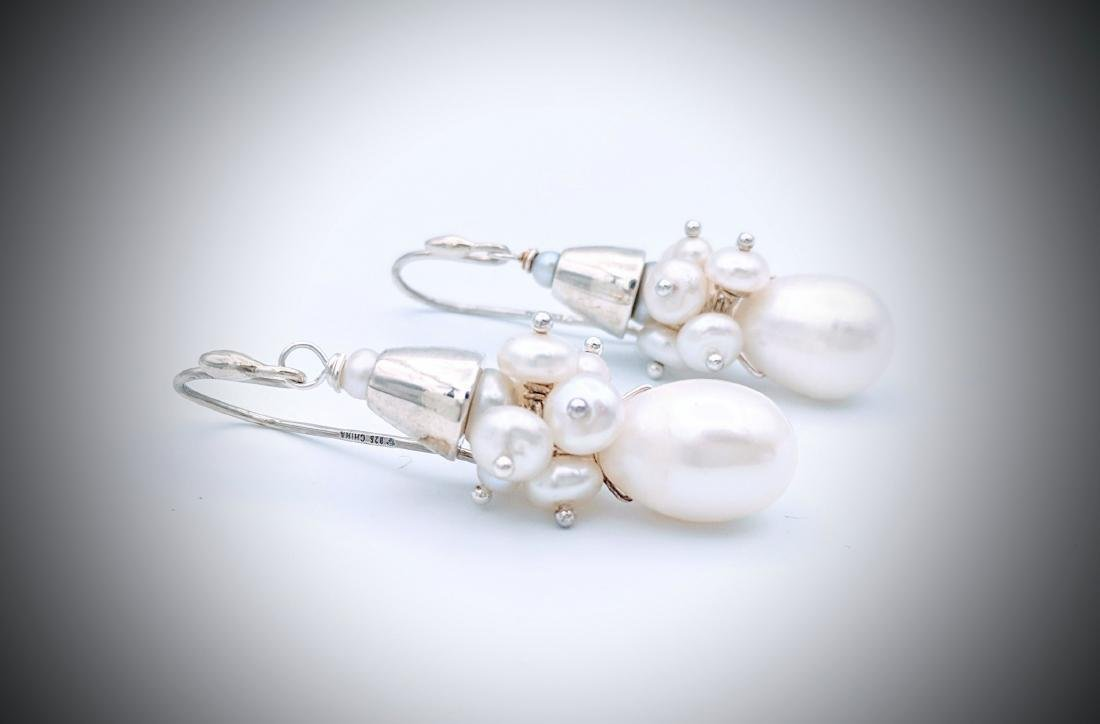 Sterling Silver Clustered Pearl Earrings - 2