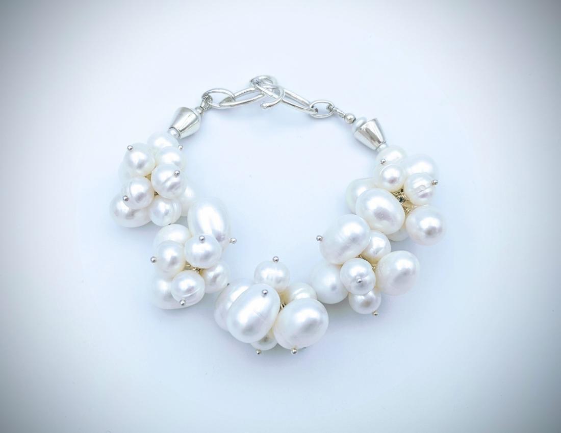 Sterling Silver Clustered Pearl Bracelet