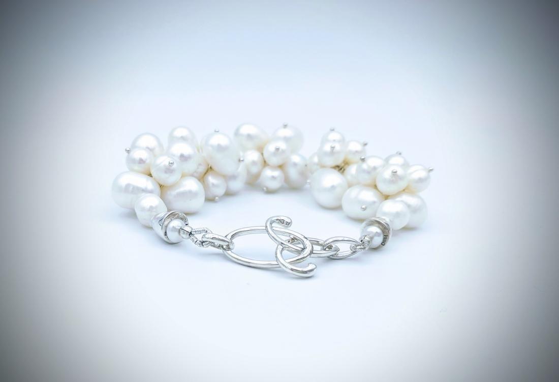 Sterling Silver Clustered Pearl Bracelet - 2