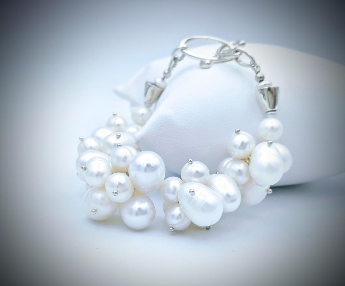 Sterling Silver Clustered Pearl Bracelet - 3