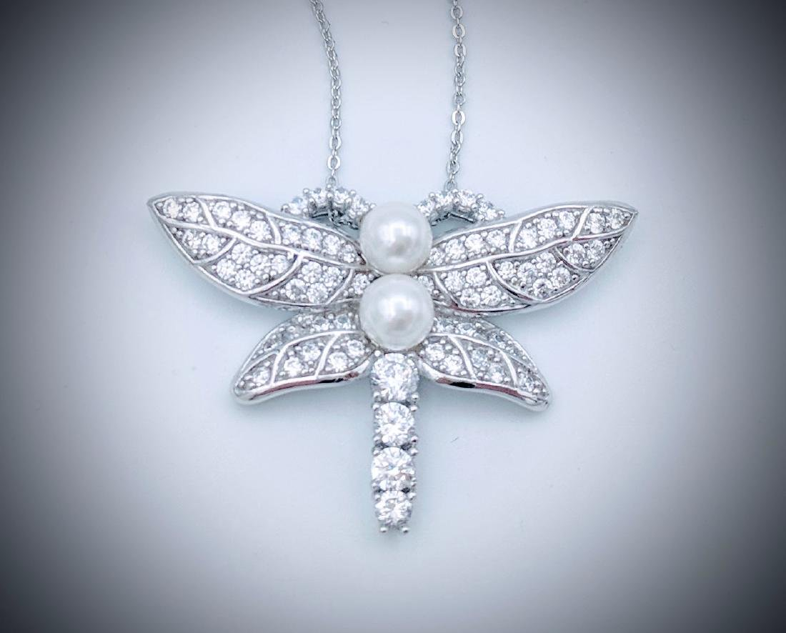 Sterling Silver Pearl CZ Dragonfly Necklace