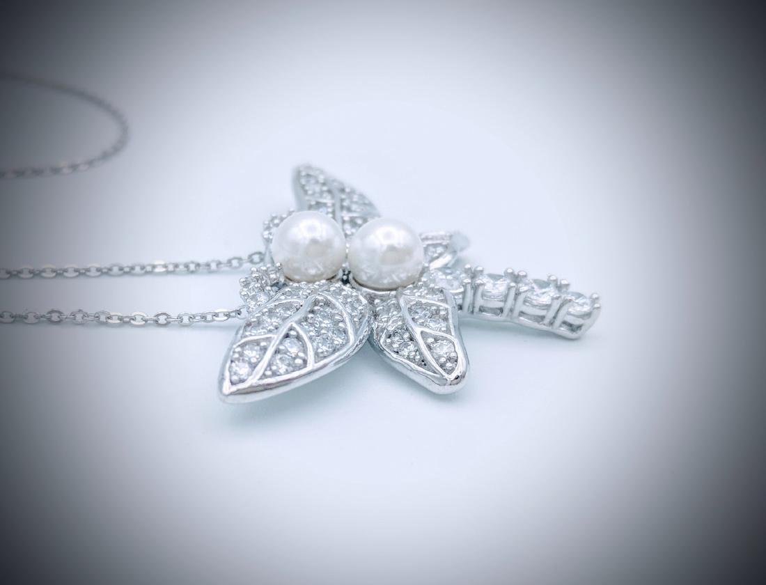 Sterling Silver Pearl CZ Dragonfly Necklace - 2