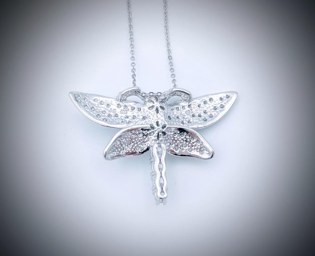 Sterling Silver Pearl CZ Dragonfly Necklace - 3