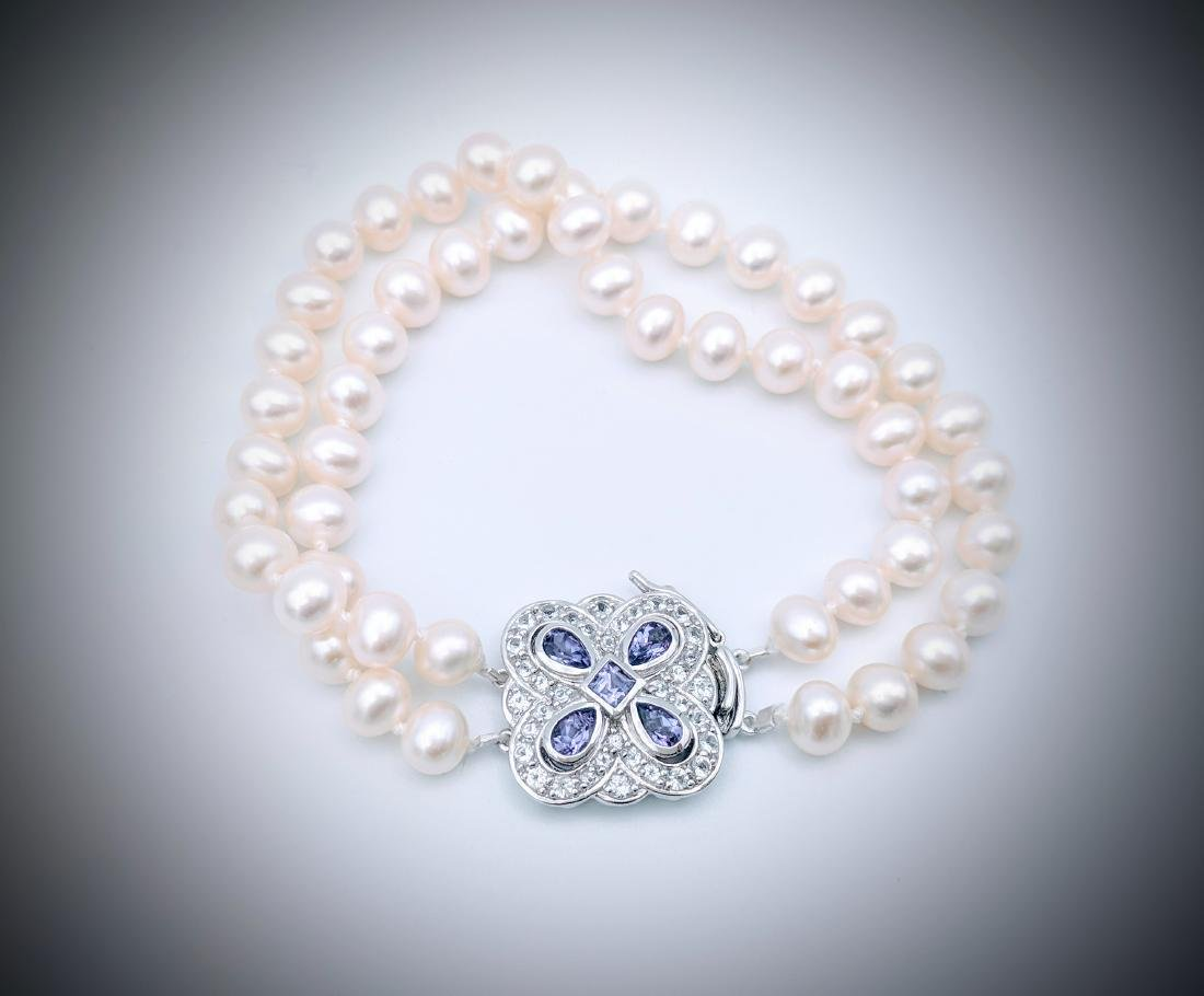 SS Double Stranded Pearl Bracelet w Amethyst & CZ Clasp