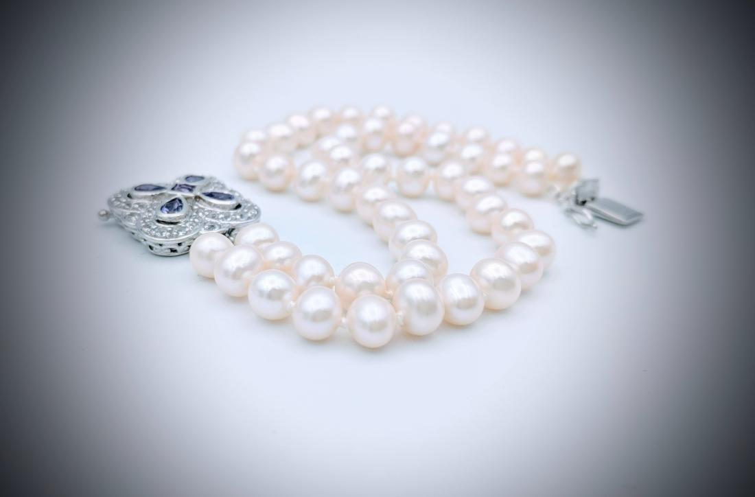 SS Double Stranded Pearl Bracelet w Amethyst & CZ Clasp - 2