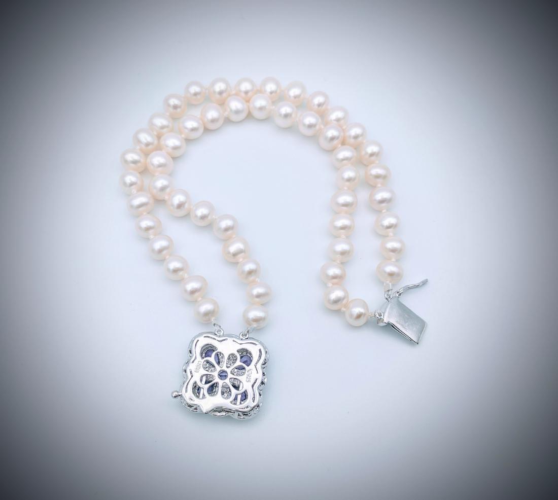 SS Double Stranded Pearl Bracelet w Amethyst & CZ Clasp - 3