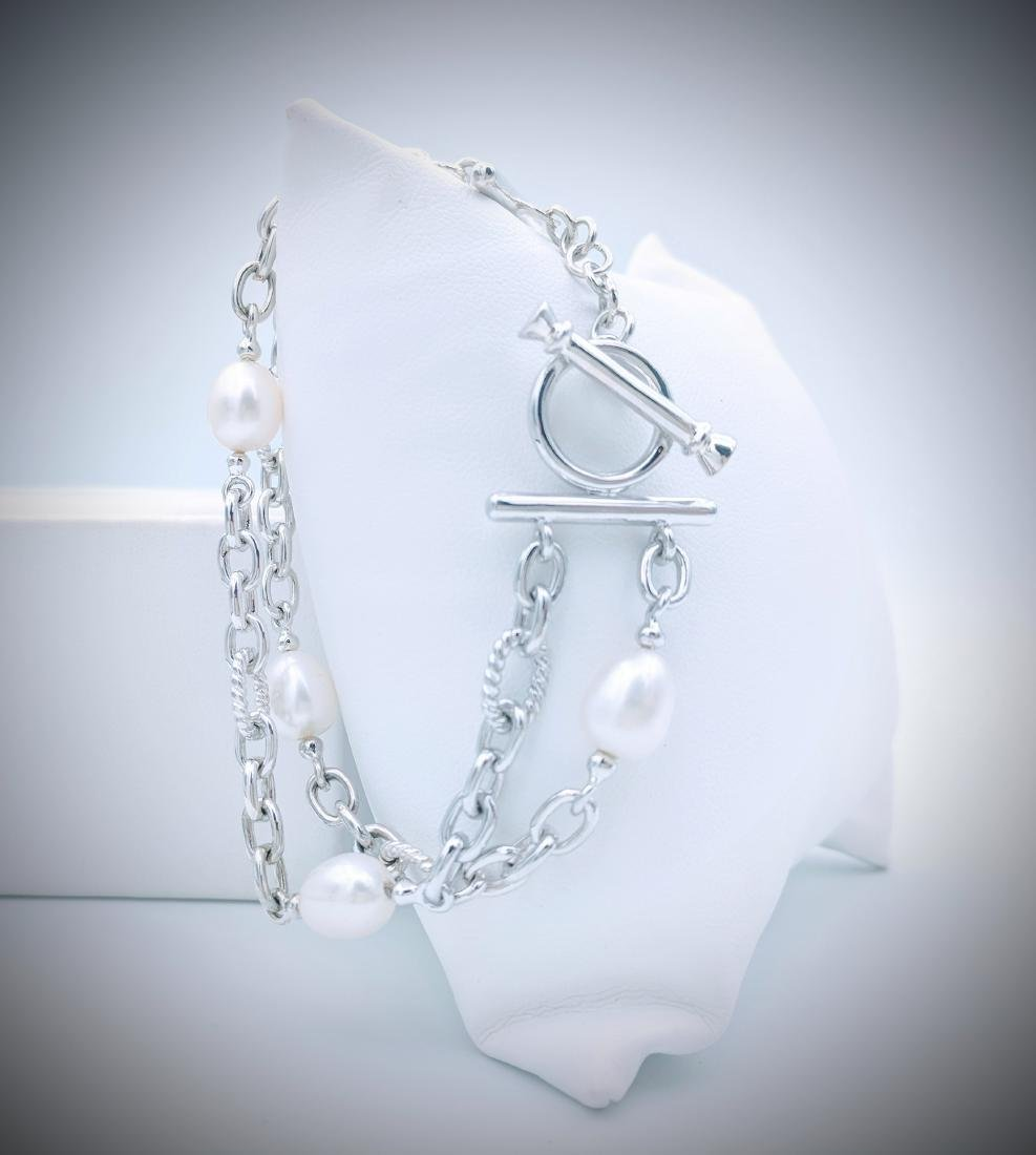 Sterling Silver Bracelet with Double Chains and Pearls