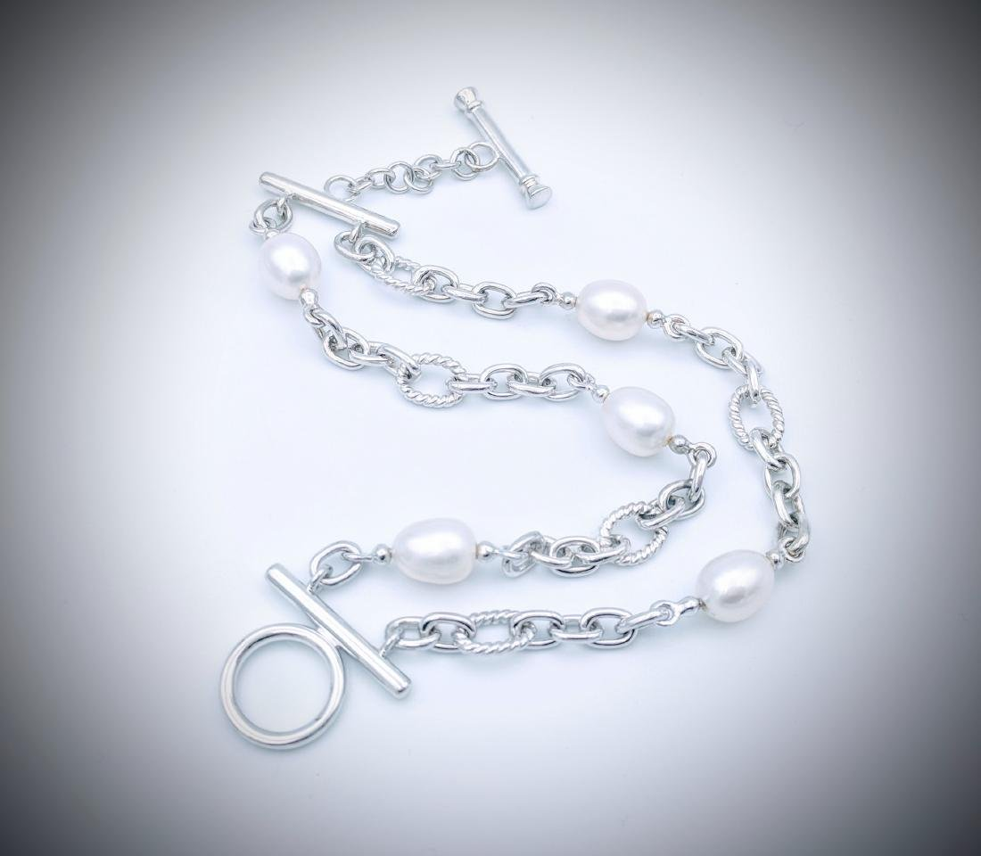 Sterling Silver Bracelet with Double Chains and Pearls - 2