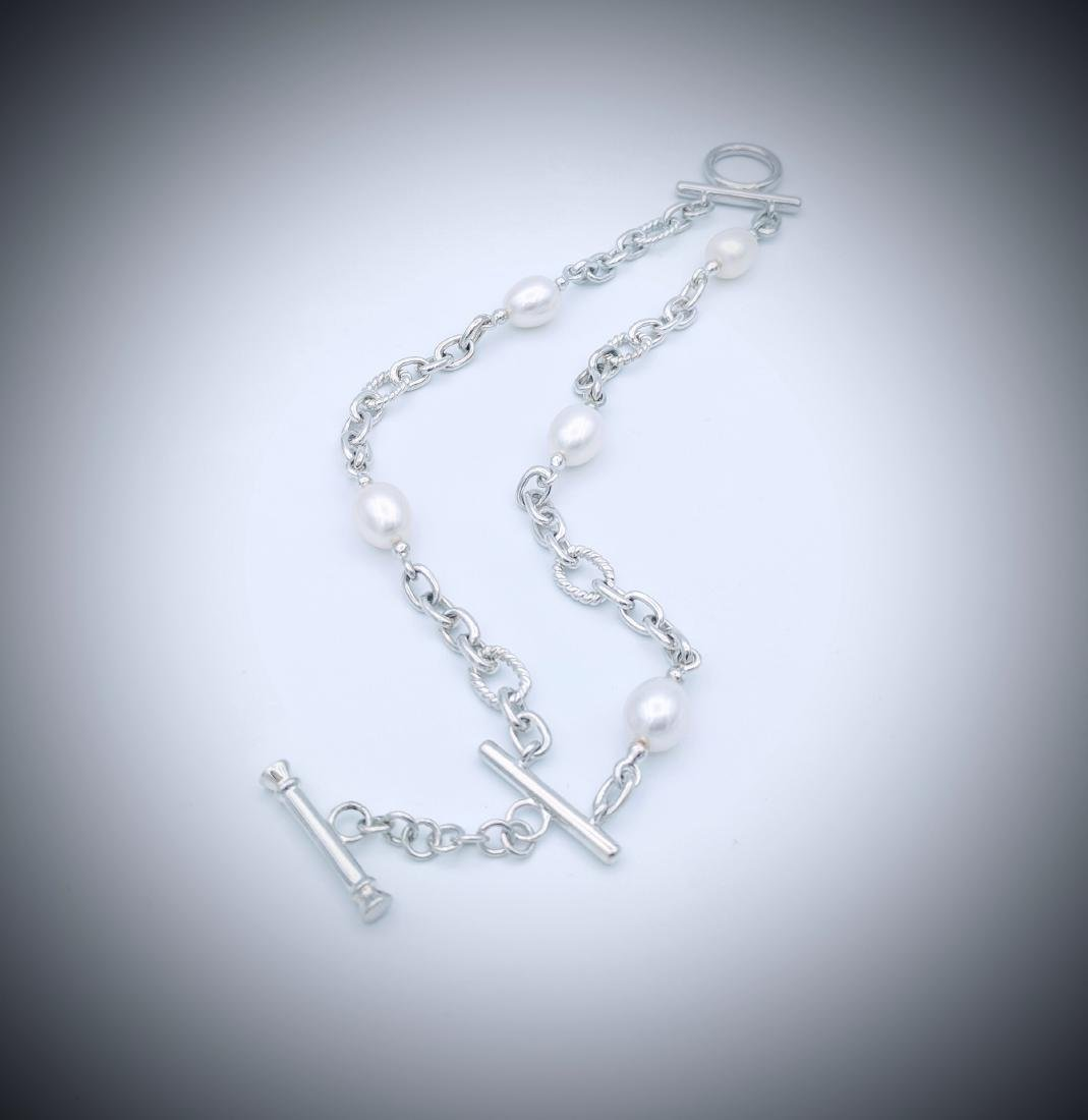 Sterling Silver Bracelet with Double Chains and Pearls - 3