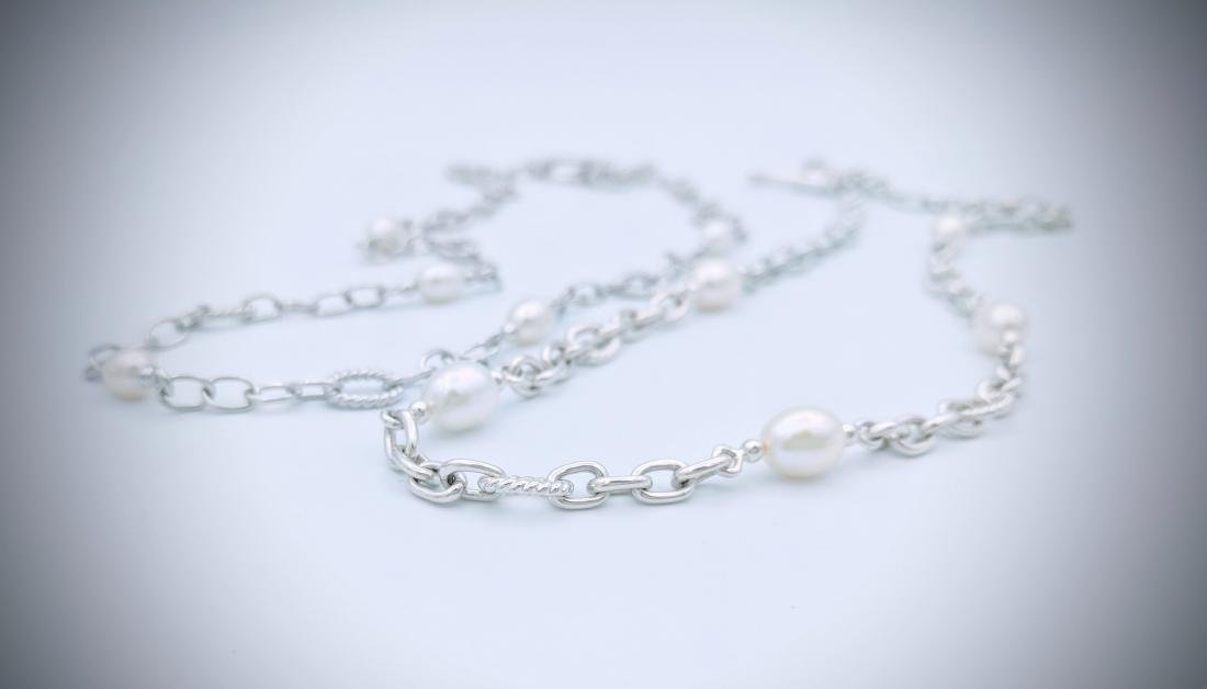 Sterling Silver Double Chained Pearl Necklace - 2