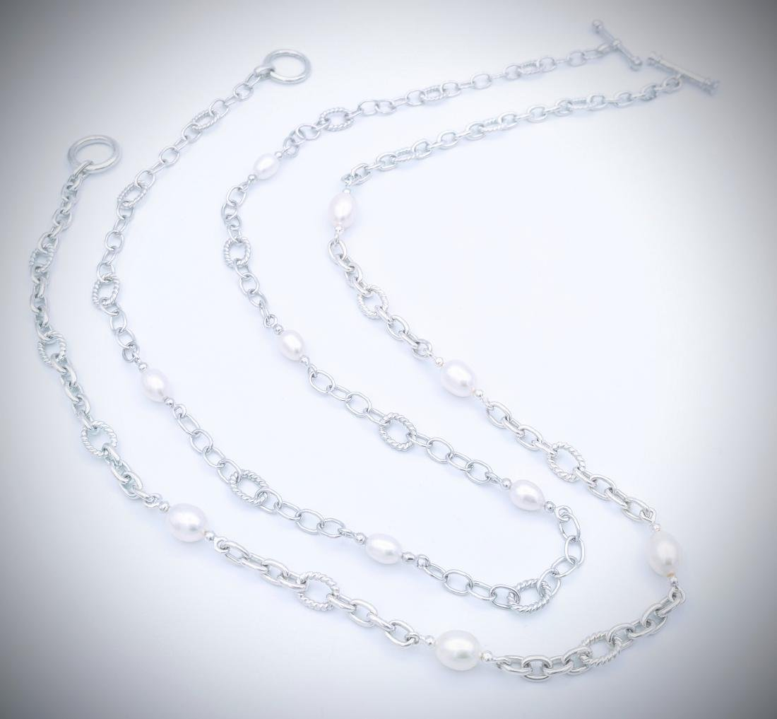 Sterling Silver Double Chained Pearl Necklace - 3