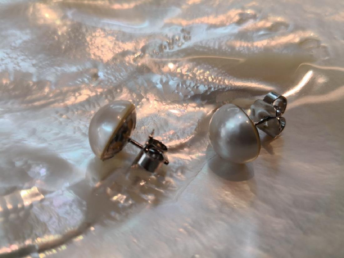Earrings 18K gold and Australian Mabe Pearls 13 mm - 2