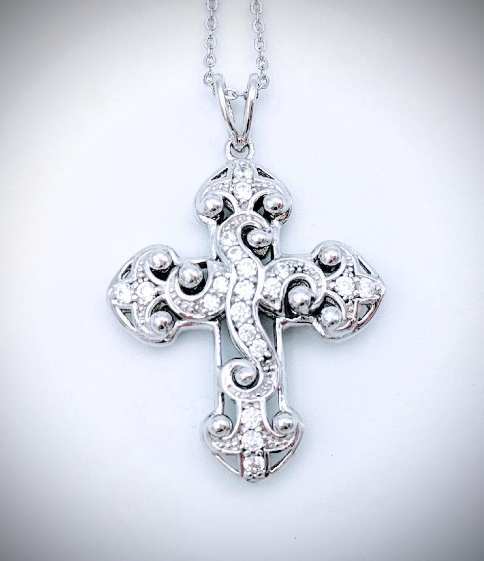 Sterling Silver Cubic Zirconia Two Sided Cross Pendant