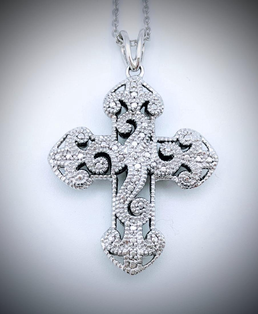 Sterling Silver Cubic Zirconia Two Sided Cross Pendant - 3