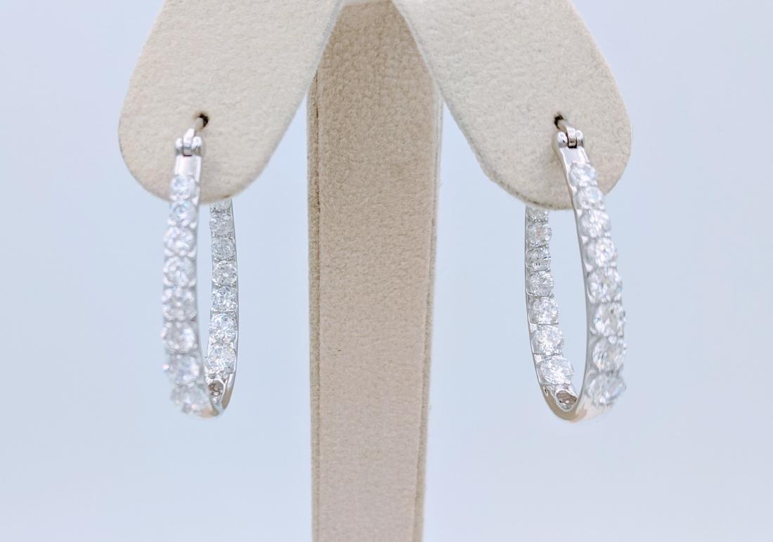 Sterling Silver Cubic Zirconia Hoop Earrings, 1.5ctw