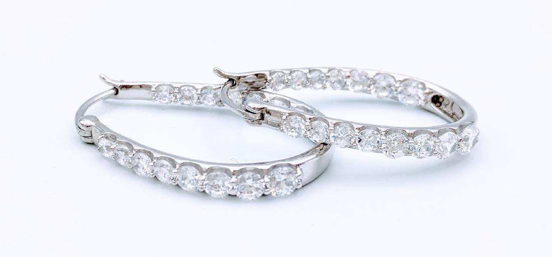 Sterling Silver Cubic Zirconia Hoop Earrings, 1.5ctw - 2