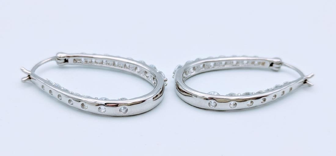 Sterling Silver Cubic Zirconia Hoop Earrings, 1.5ctw - 3