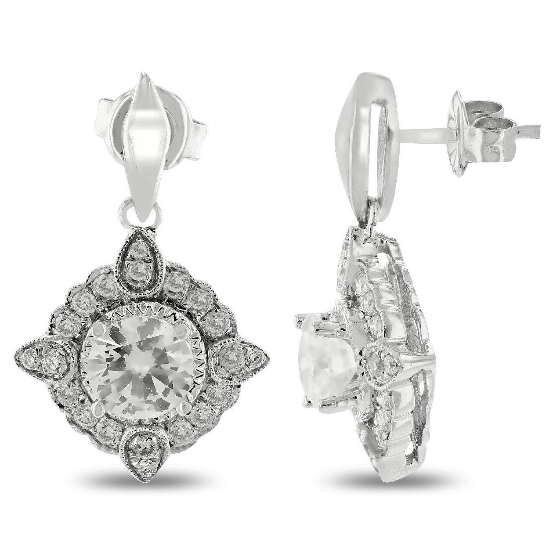 1.42ctw Diamond 18KT White Gold Earrings