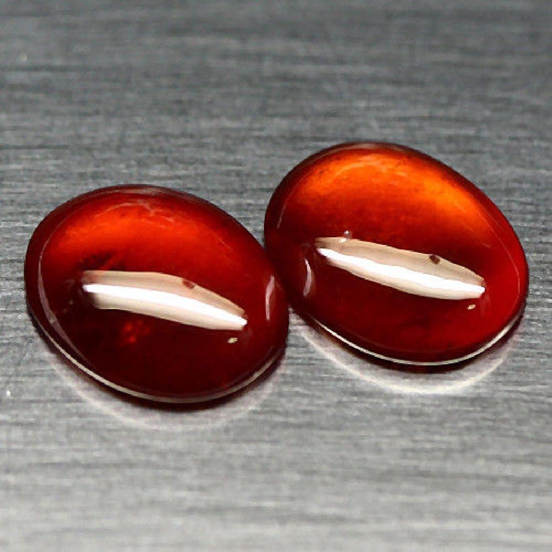 6.78 Ct Natural! Pair! Orange Hessonite Garnet Oval - 2