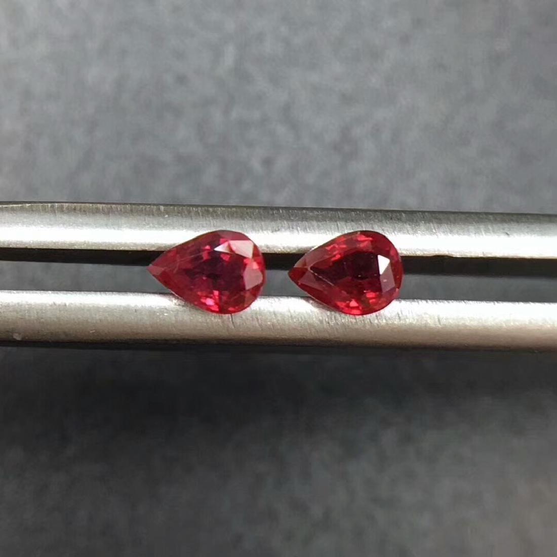 0.39 Ctw Natural 2 Loose Ruby Pear Earrings Set