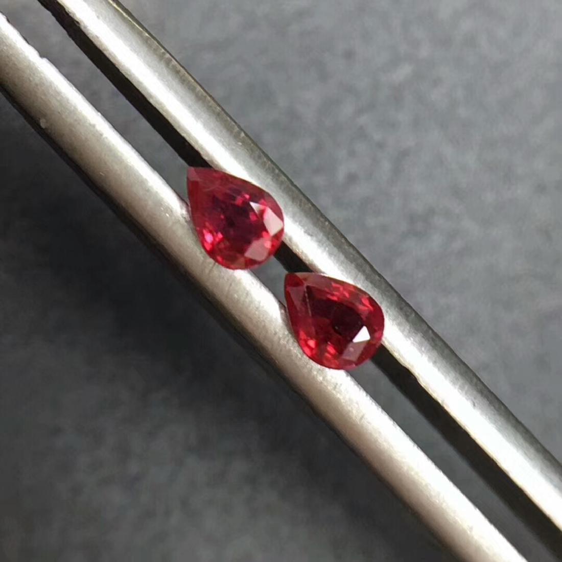 0.39 Ctw Natural 2 Loose Ruby Pear Earrings Set - 2