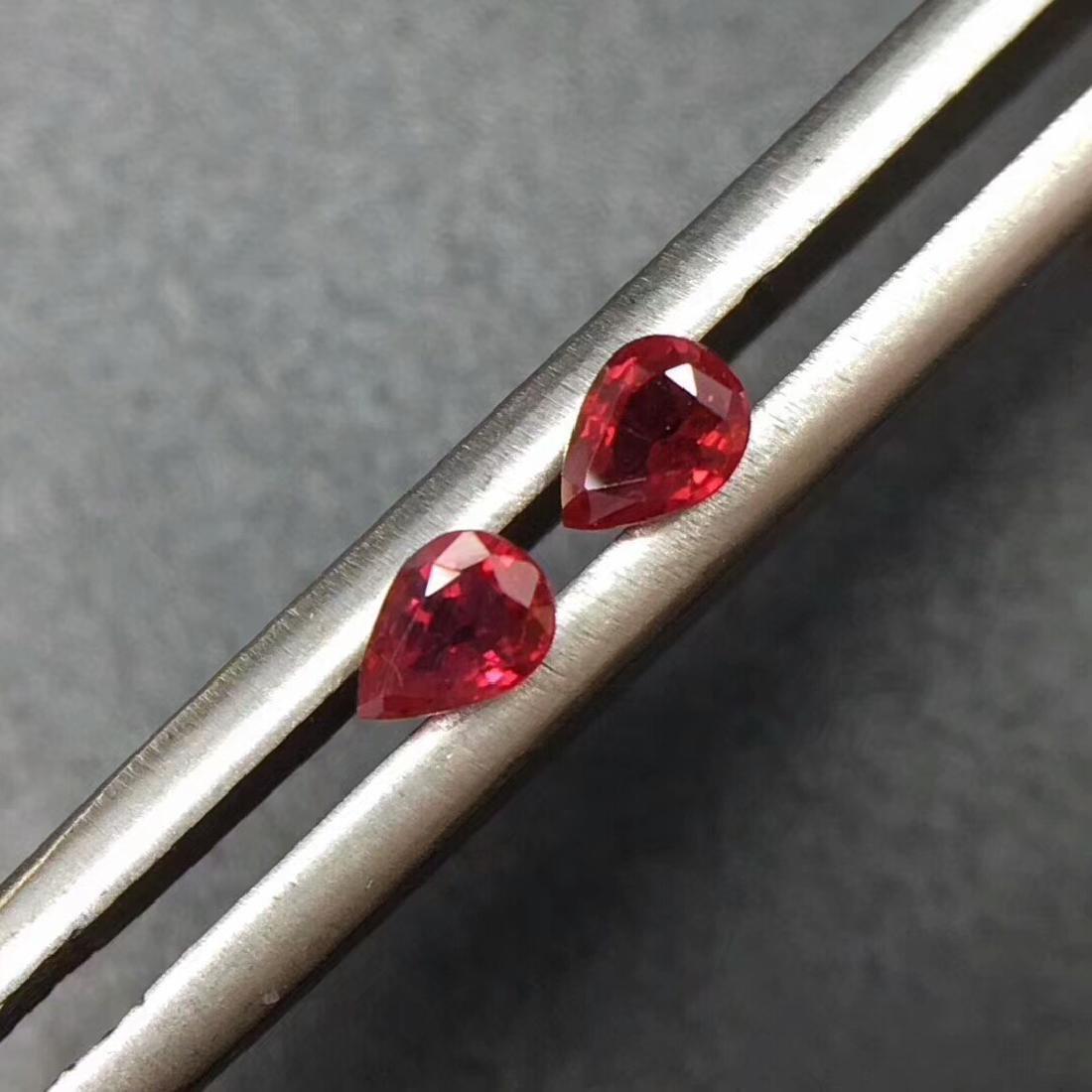 0.39 Ctw Natural 2 Loose Ruby Pear Earrings Set - 3