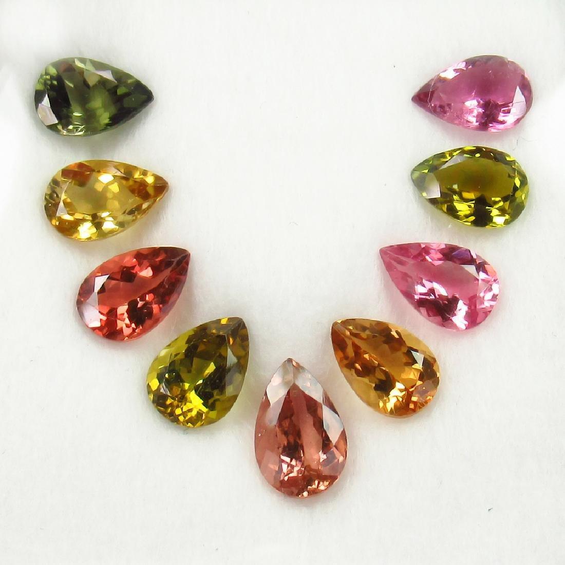 11.95 Ctw Natural 9 Loose Multi-Color Tourmaline Pear