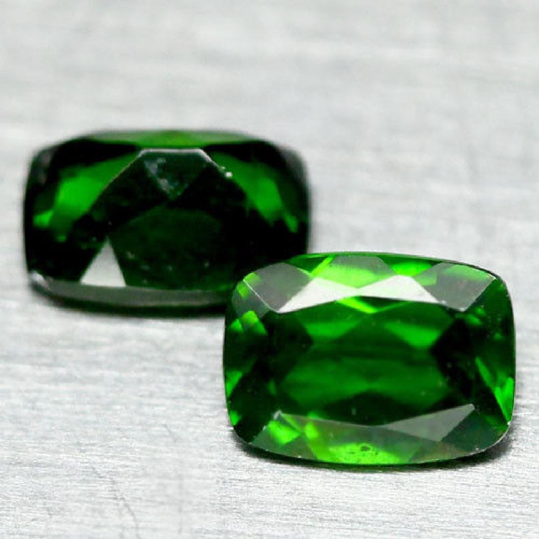 2.06 Ct Natural! Pair! Chrome Green Russia Diopside - 2