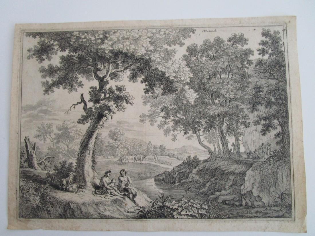 Antique etching Herman van Swanevelt Pastoral