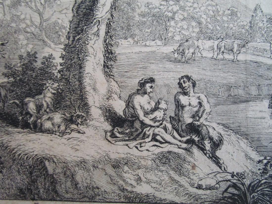 Antique etching Herman van Swanevelt Pastoral - 2