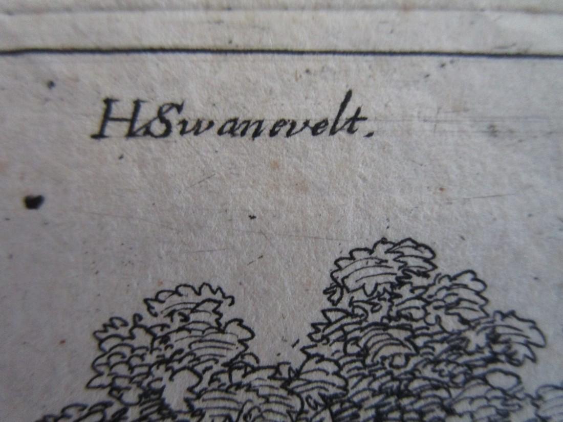Antique etching Herman van Swanevelt Pastoral - 3