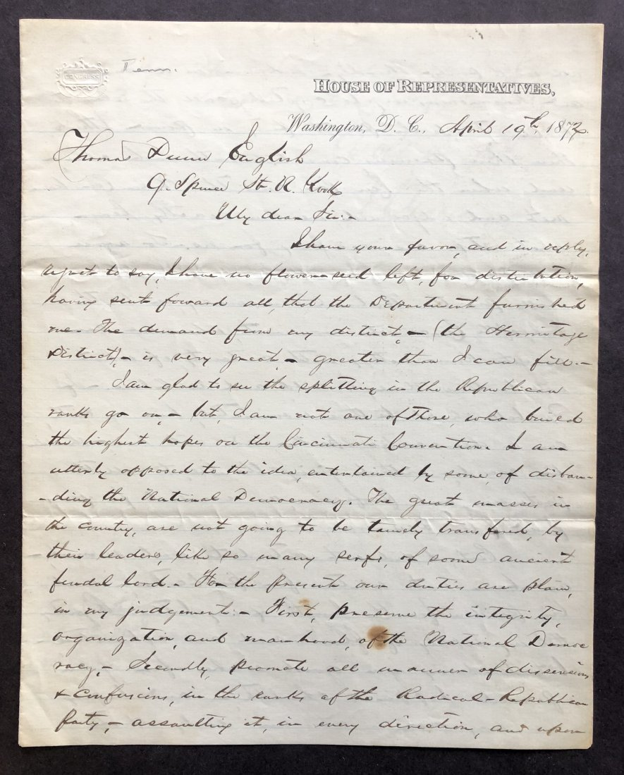 Excellent Content 1872 Political Campaign Letter by