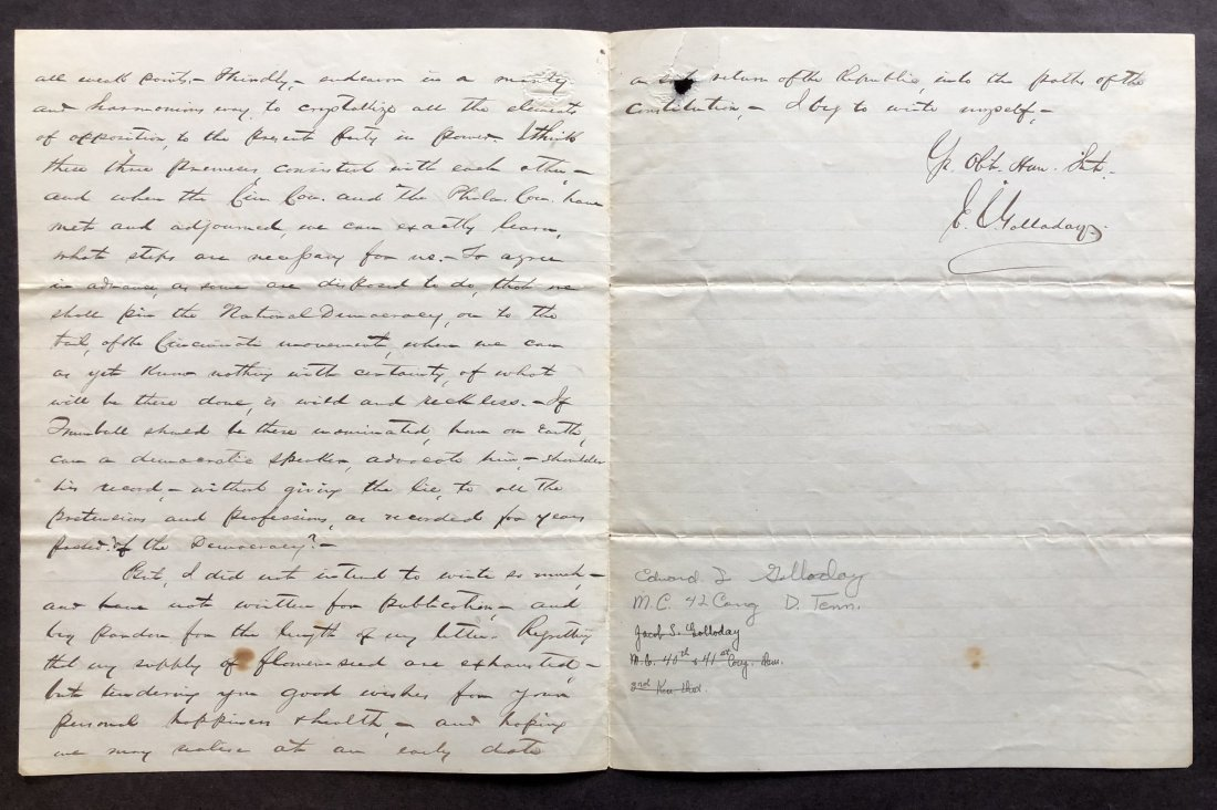 Excellent Content 1872 Political Campaign Letter by - 2