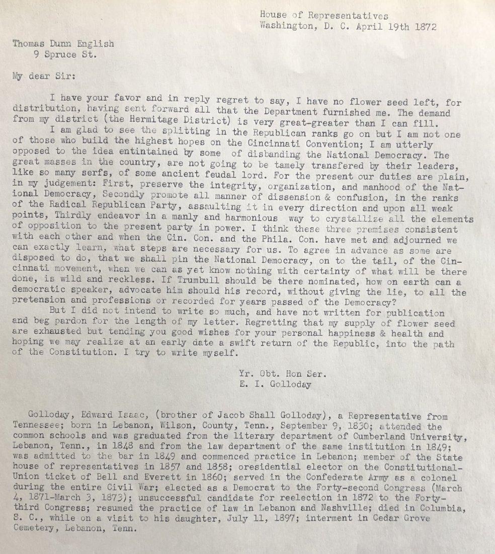Excellent Content 1872 Political Campaign Letter by - 3