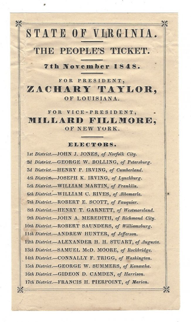 1848 Taylor and Fillmore Ballot from Virginia