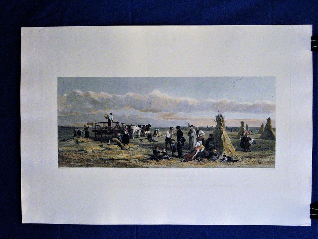 Antique Print The Field of Agincourt in 1857