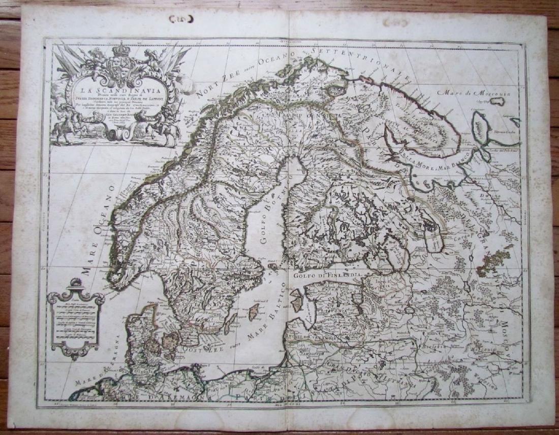 1689 Antique Map of Scandinavia Giovanni De Rossi's