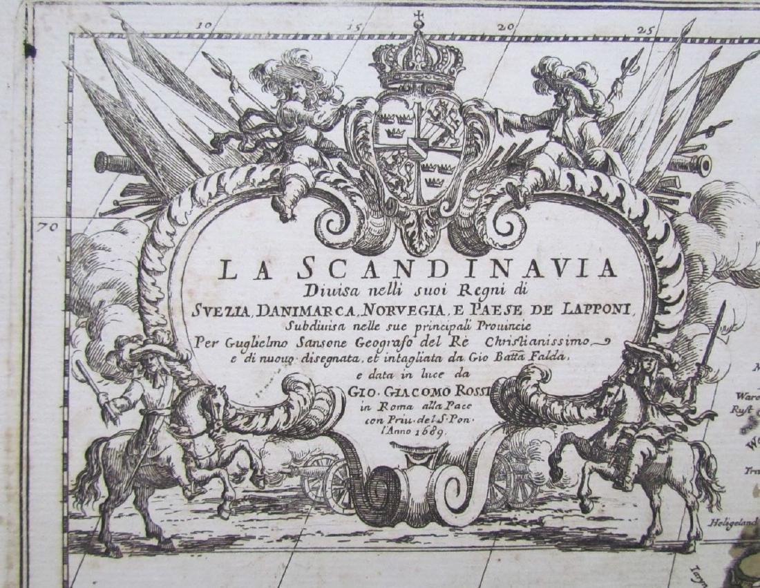 1689 Antique Map of Scandinavia Giovanni De Rossi's - 2